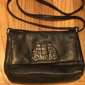 Vintage Laurel Burch Black Leather Crossbody Bag